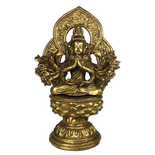 """準提佛母 銅全鎏金 手工 仿古 尼泊爾 Chundhi Statue Copper Antique Look Nepal 12"""" (30.5 cm)"""