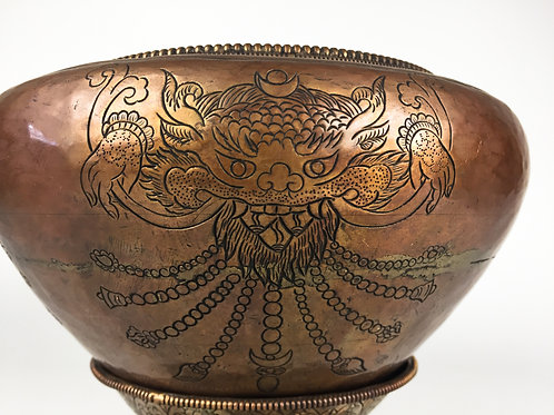 缽 手工缽與架(B) 銅  bowl with stand copper 18.5x18.5x15cm 口徑 13cm