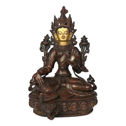 """綠度母 銅 手工尼泊爾 佛像 Green Tara Copper Handmade Nepal 12.5"""" (34cm)"""