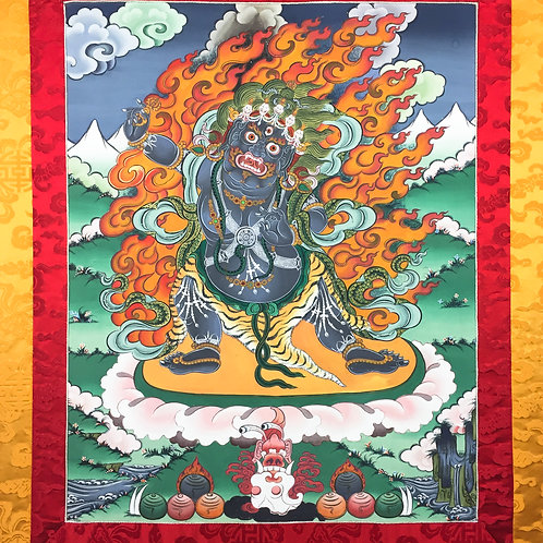 金剛手菩薩手繪 唐卡 (中) 有布邊 不丹 Vajra Pani Bhutan 76x120cm