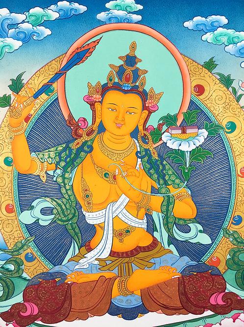 文殊菩薩唐卡 (中) 有布邊 手繪 ManjushreeThangka 65x120cm