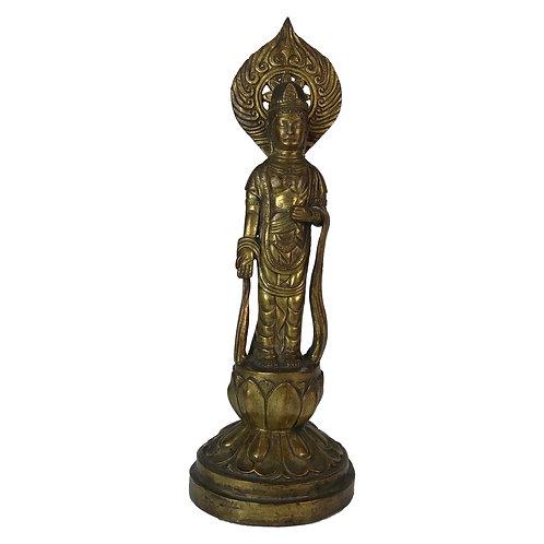 立觀音-5 銅 鎏金仿古 尼泊爾 佛像 Standing Kuwan In Copper Antique Look Nepal 9x26cm / 1.3kgs