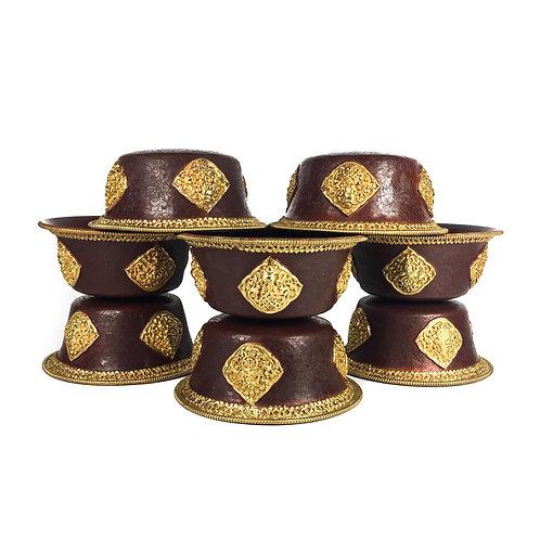 八供杯 (無腳) 手工 銅鎏金 Offering cups Copper with gold gilted D18cm H7cm (8pcs/set)