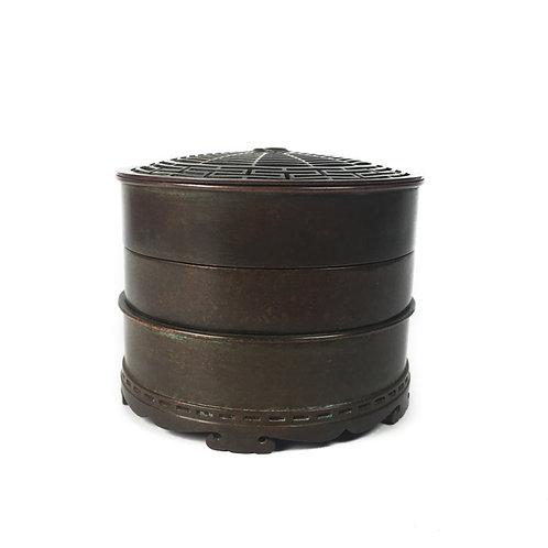 香爐 多層銅爐 圓形 知足常樂 (蜘蛛) Copper Burner-spuder10x10x8cm