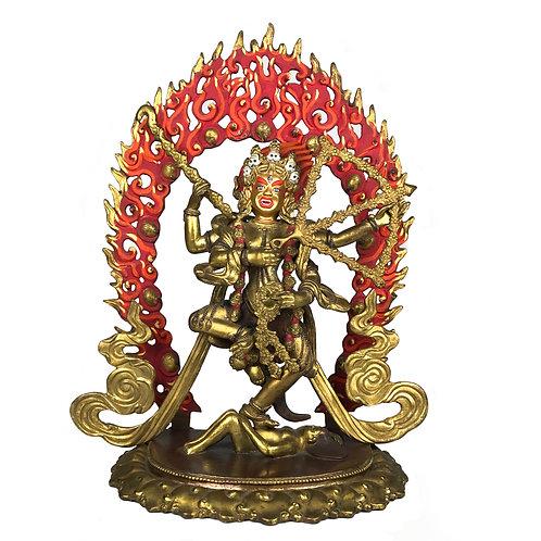 """作明佛母/ 咕嚕咕烈 銅 半鎏金 尼泊爾 Kulukulle Statue Copper Nepal 13"""" (35 cm)"""