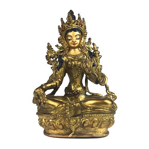 """綠度母 (A) 銅 全鎏金 手工 尼泊爾 佛像 Green Tara Statue Handmade Nepal 5.5"""" (13.5 cm)"""