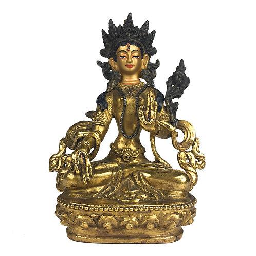 """白度母 (A) 銅 全鎏金手工尼泊爾 佛像 White Tara Statue Handmade Nepal 5.5"""" (13.5 cm)"""