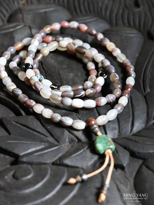 老瑪瑙念珠 108Old Agate Stone Mala Prayer Beads  (買二送一)