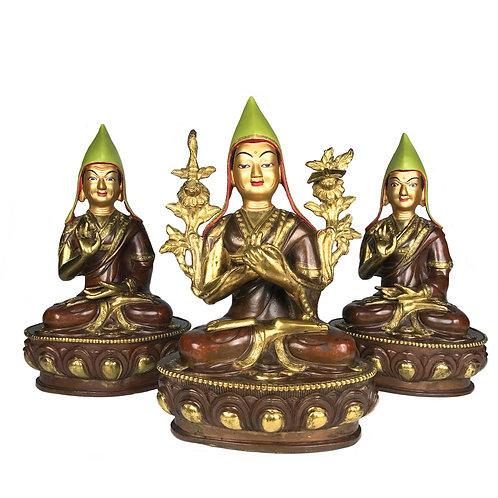 """宗喀巴師徒三尊 銅 半鎏金 手工尼泊爾 Tsongkapa w/ Followers Copper Partly Gold 3 pcs 9"""" (23 cm)"""
