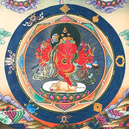 紅財神/ 象鼻財神手繪唐卡 (中) 有布邊 Ganesh/ Red Zambala Thangka 65x120 cm