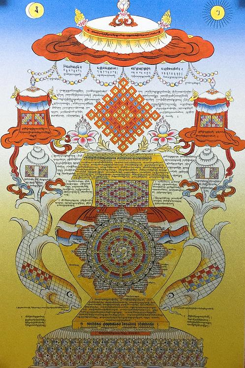 八吉祥唐卡  輸出印刷裝框  Astamangala / Tashi Tagey Printed Thangka with Frame