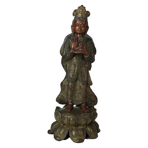 """特殊佛像 -1 七寶銅 手工 尼泊爾 Special Standing Buddha Mix Copper Handmade Nepal 12"""" (29cm)"""