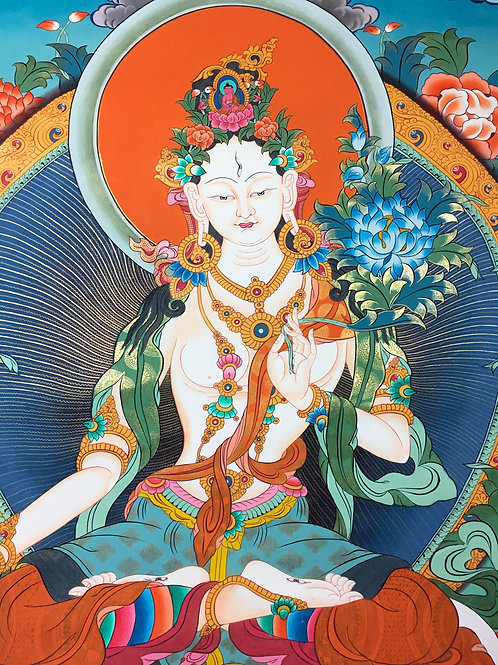 白度母 泥金唐卡 精緻手繪 White Tara Handpainted Thangka 108x160cm