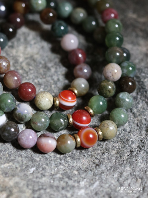 七彩玉念珠 108 Multi colored Jade Stone Mala Prayer beads 108 (Buy 2 Take 1 Free)
