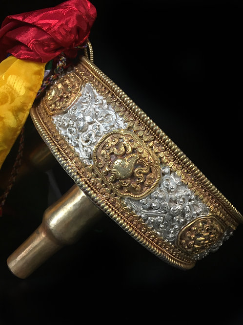 獻曼達銅鎏金鎏銀 手工 Mandala Offerring Copper withGold and Silvergilted 直徑 D20cm