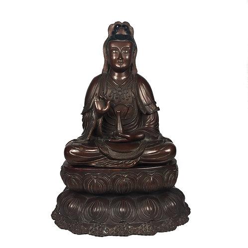 "觀音 銅 手工 尼泊爾 佛像 Guan Yin Statue Copper Handmade Nepal 17.5"" (45 cm)"