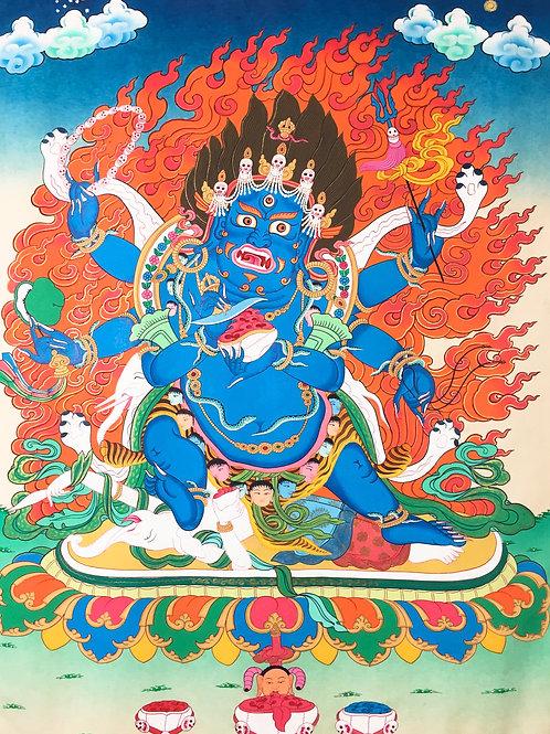 六臂黑瑪哈嘎啦 大黑天手繪 (中) 有布邊 Black Mahakala 70x122cm