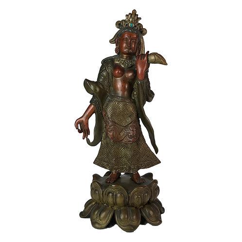 """特殊佛像 -2 七寶銅 手工 尼泊爾 Special Standing Buddha Mix Copper Handmade Nepal 12"""" (30cm)"""