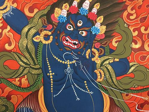 金剛手菩薩 泥金手繪唐卡 Vajra Pani Handpainted Thangka 52x72cm