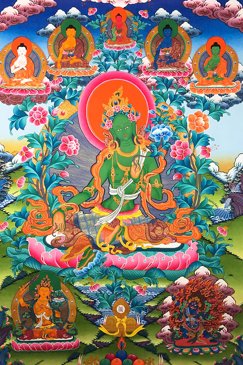 綠度母 泥金手繪唐卡 Green Tara Handpainted Thangka 112x160cm