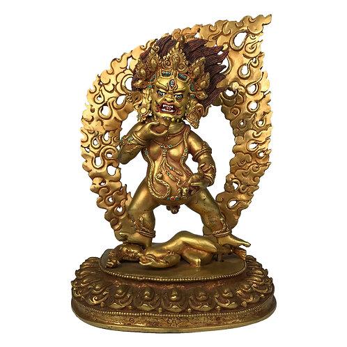 """黑財神 銅全鎏金 手工 尼泊爾 佛像 Black Jambala Fully Gold Nepal 13.5"""" (34cm)"""