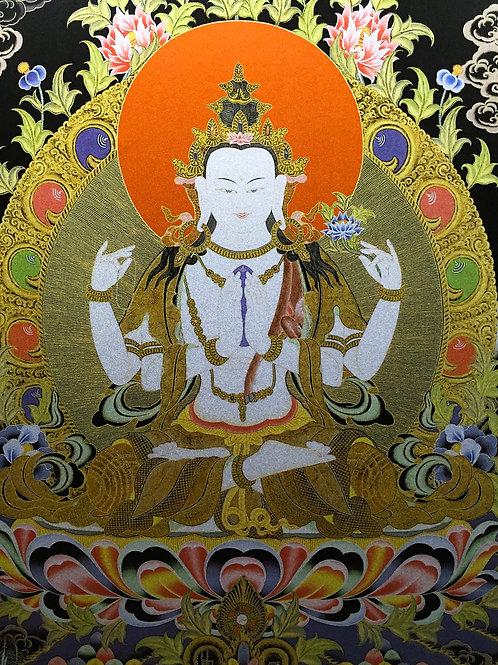 四臂觀音(黑底) 唐卡 輸出印刷裝框Chenresi Printed Thangka with frame