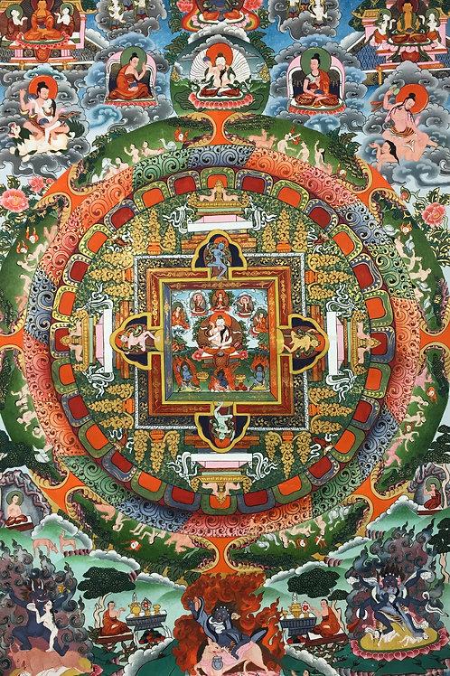 特惠價 檀城唐卡 Mandala Handpainted Thangka57x37cm
