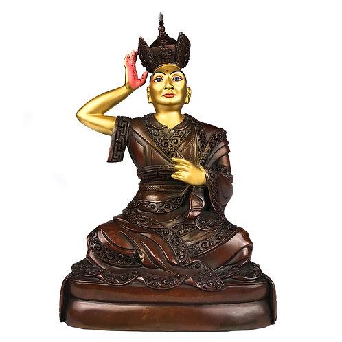 """嘎瑪巴 16 世 銅 手工 尼泊爾 佛像  Karmapa 16th Copper Deep Carving Handmade Nepal 7"""" (18 cm)"""