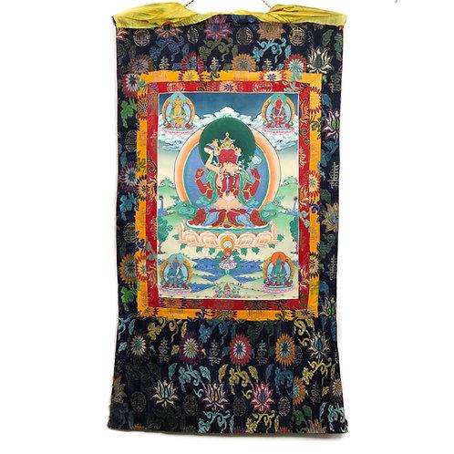 四臂紅觀音/ 長壽佛 唐卡 Red Chenresi Thangka 71x130cm