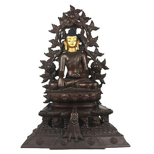 """釋迦佛 銅 雙座 背光 手工尼泊爾 佛像 Sakyamuni Buddha with Double Base & Frame Nepal 14"""" (36 cm)"""