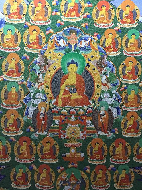 35佛唐卡 輸出印刷 35 Buddhas Printed Thangka with Frame