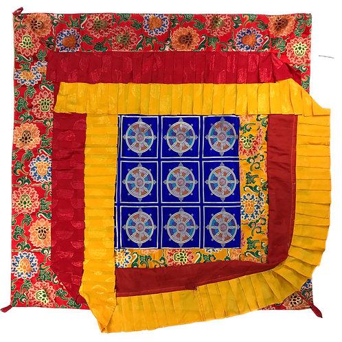 寶蓋 法輪 / 蓮花 (紅邊) 四方 Ceiling Top cloth Square 120 cm