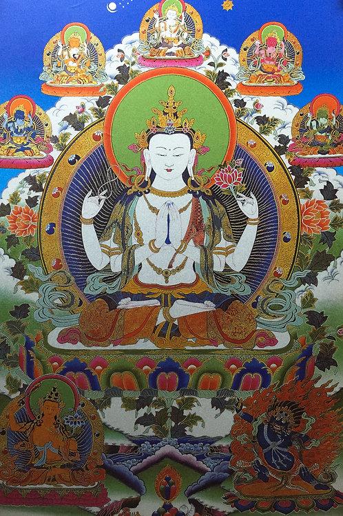 四臂觀音唐卡 輸出印刷裝框 Chenresi Printed Thangka with Frame