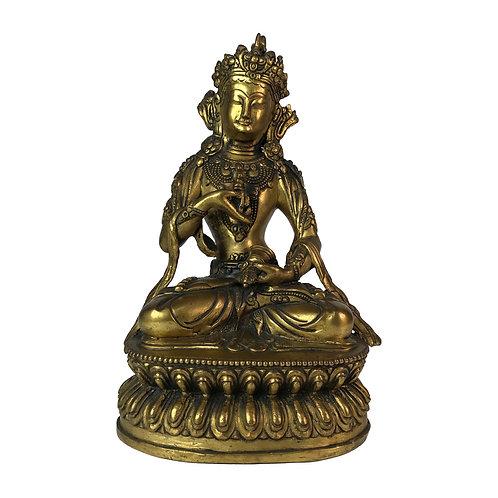"""金剛撒朵-1 銅 鎏金仿古 尼泊爾 佛像 Vajra Satwo Statue Copper Antique Look Nepal 8"""" (21cm)"""