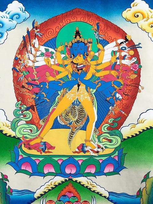 勝樂金剛 (小) 唐卡 手繪 Chakrasamvara Handpainted Small Thangka W46/H80 cm