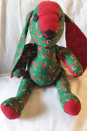 """""""Candy Cane"""" Plush Bunny, sold"""