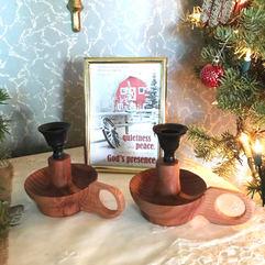 Custom Made Candle Holders, Redwood