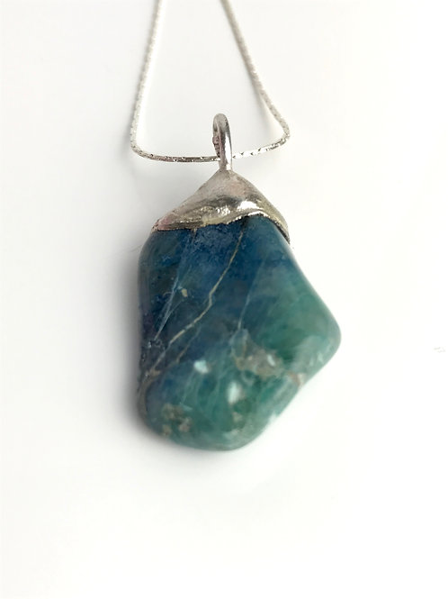 Chrysocolla-silver dipped-necklace-handmade gift-UK-semi-precious stone jewellery