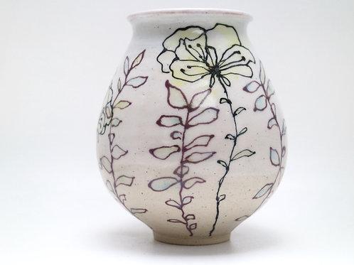 Yellow Poppy Ceramic Vase