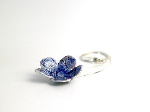 Blue Wash Porcelain Flower Necklace