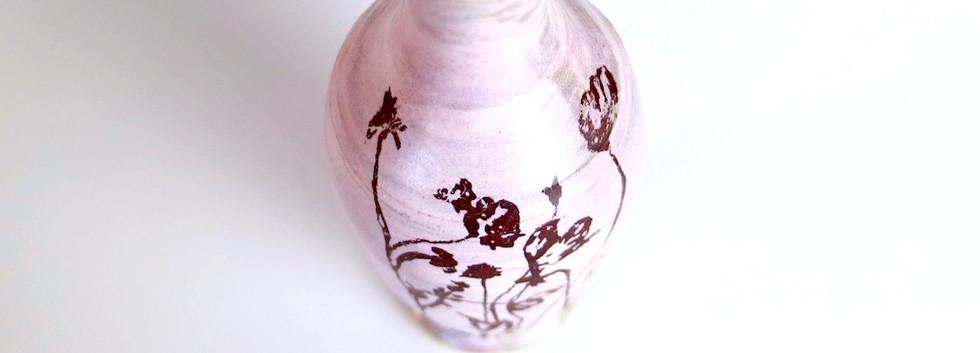 Pink wildflowers vase