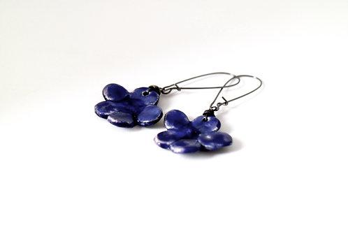 Blue Flower Drop Earrings