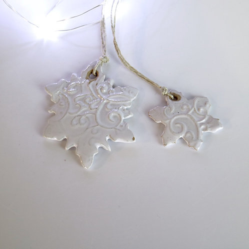 Ceramic Hanging Snowflake - medium