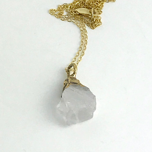 Gold and Quartz Crystal Necklace