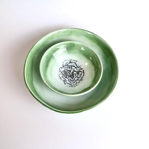 Green Peony Ceramic  Bowl Set