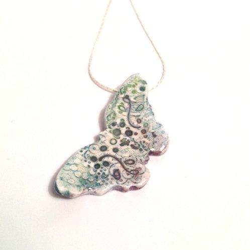 Pale Watercolour Porcelain Butterfly Necklace