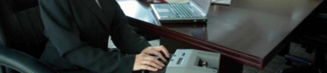 Court stenographer typing