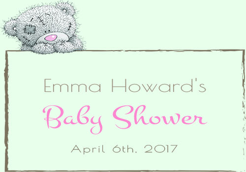 Bear baby shower label for girl