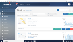 vehicle gps tracker interface on desktop