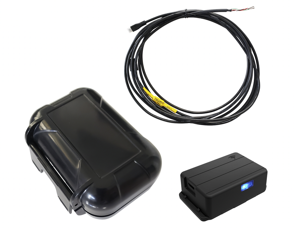Trakkit GPS Tracker Hardwired Installation Kit: 12V-36V, 15 foot Cable Harness, Magnetic Case